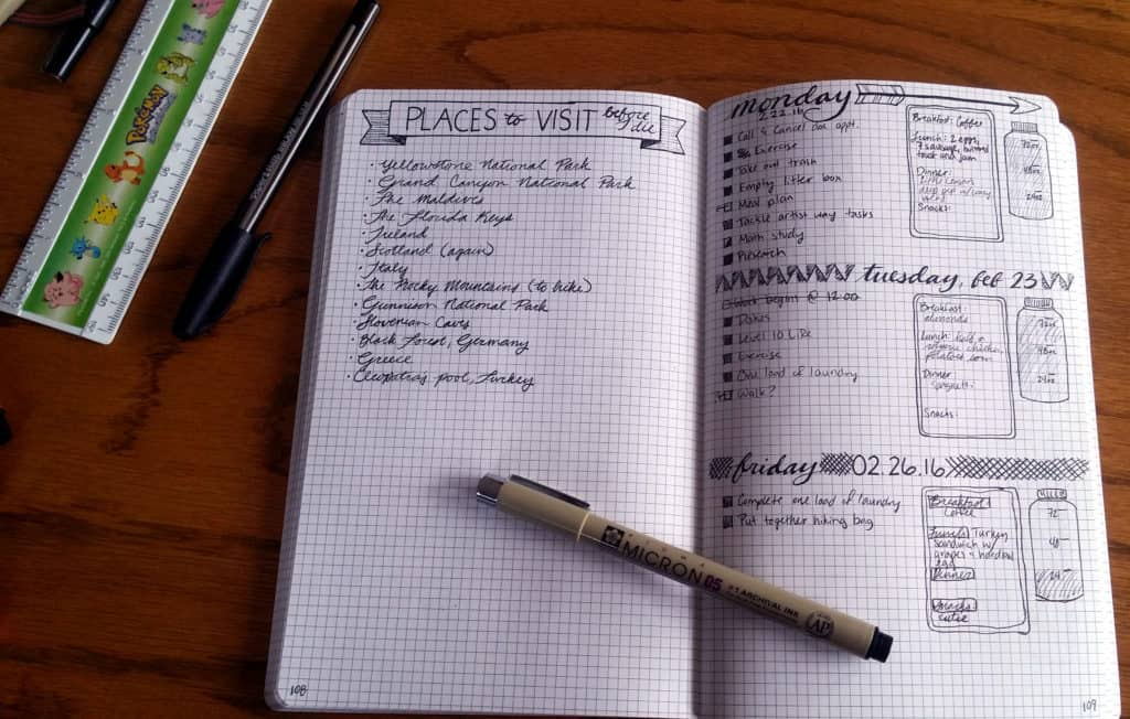 How to start a bullet journal example spread | Littlecoffeefox.com