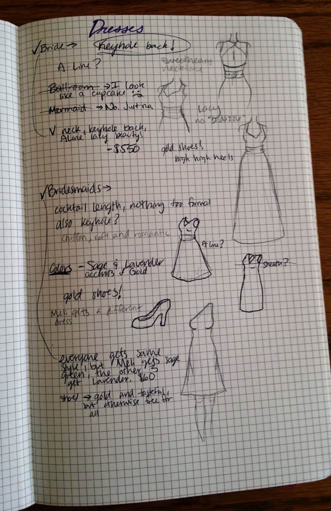 Planning a Wedding in the Bullet Journal Part Two: Attire | Littlecoffeefox.com