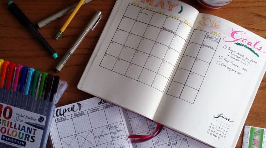 Setting up a new month in the bullet journal May Calendars   LIttlecoffeefox.com