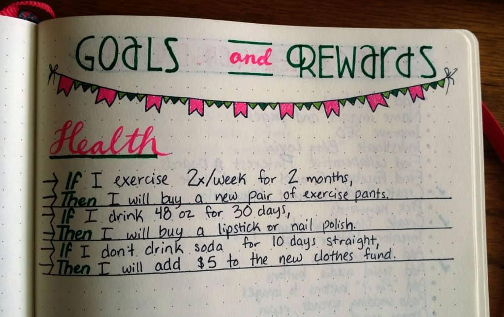 Reward Yourself with the Bullet Journal health detail | Littlecoffeefox.com