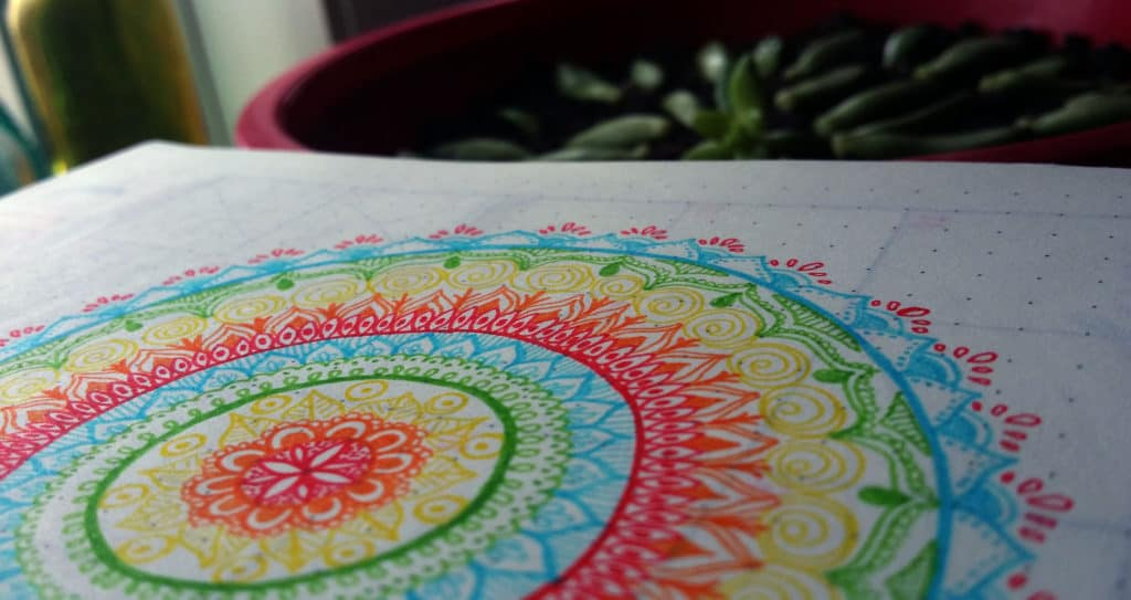 How I Conquered the First Page of my Bullet Journal mandala finsihed | Littlecoffeefox.com