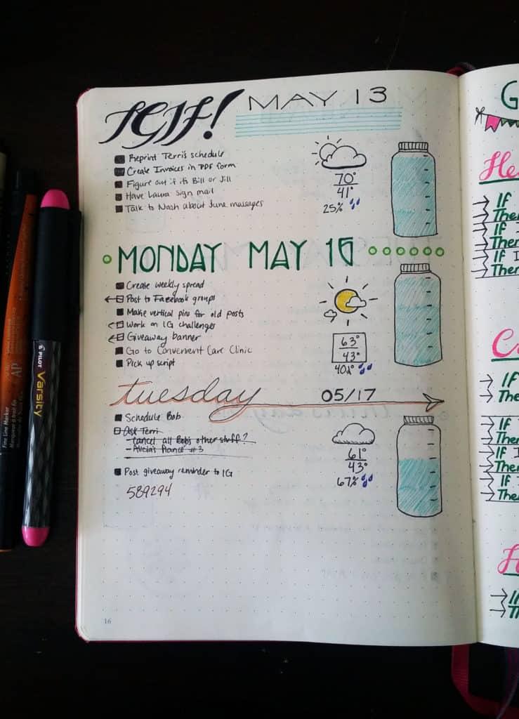 setting up my bullet journal daily spread littlecoffeefox