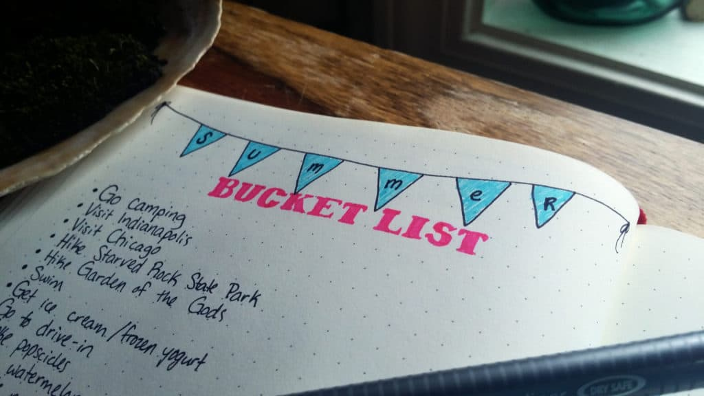 Close up of Bullet Journal Summer Bucket List