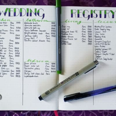 Planning a Wedding in the Bullet Journal Part 3: The Registry