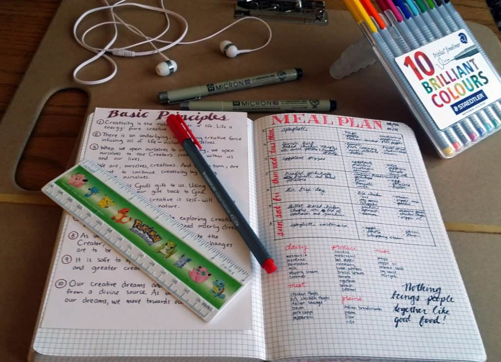 Meal planning in the bullet journal overview