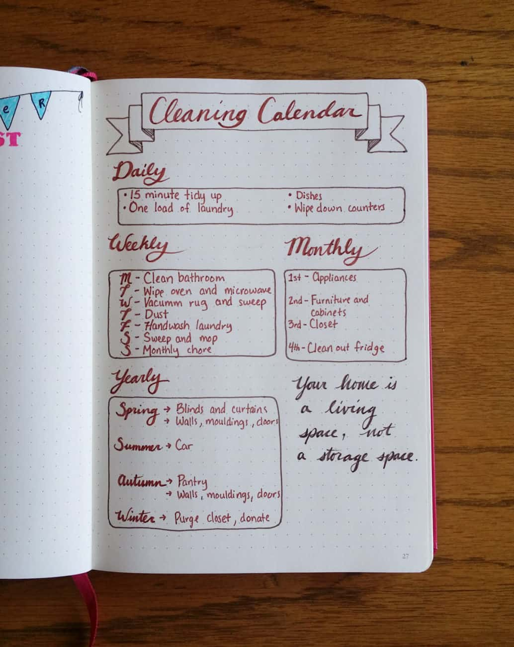 creating a cleaning calendar in the bullet journal