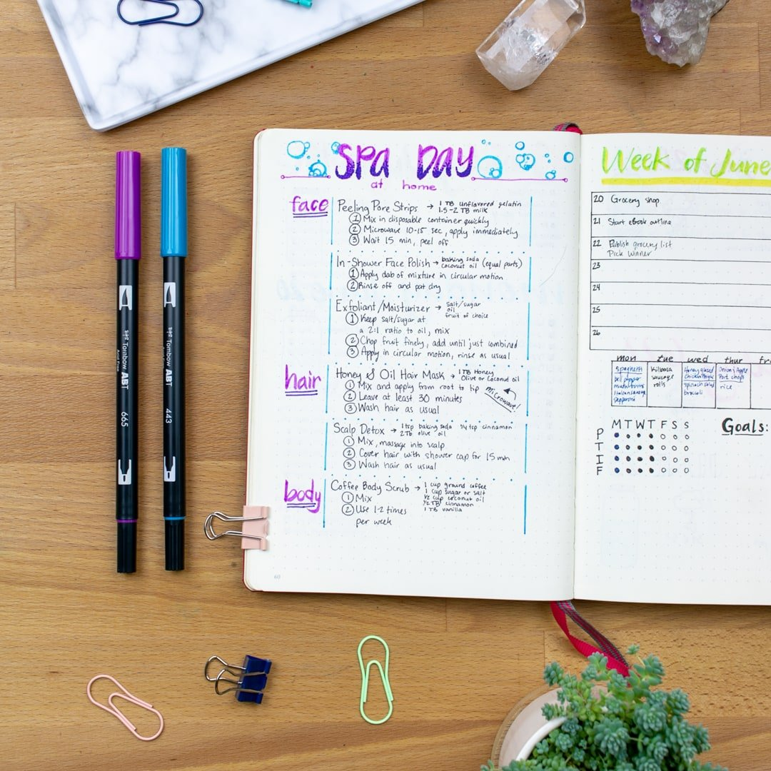 A top-down view of the Spa Day bullet journal spread. All of the self-care recipes for the spa day are written down and organized into face, hair, and body categories.