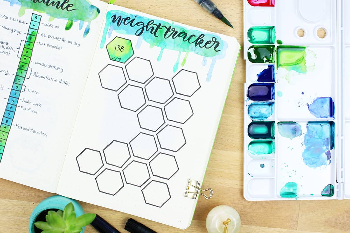 hand lettering weight loss tracker