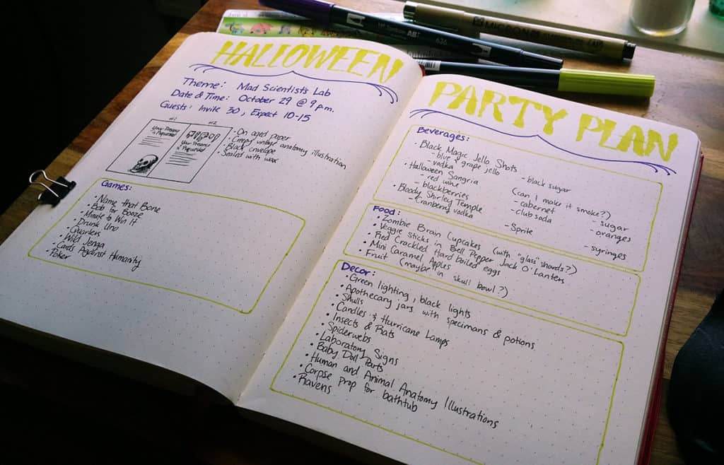 Planning a party can be made so much easier when you use the bullet journal. Put together a fantastic Christmas, Halloween, Birthday, or whatever kind of party with grace and ease using this technique! This would also be great for a movie marathon party or a watch party (can I hear Game of Thrones, anyone?). So get ready to make a Bullet Journal Party Planner!