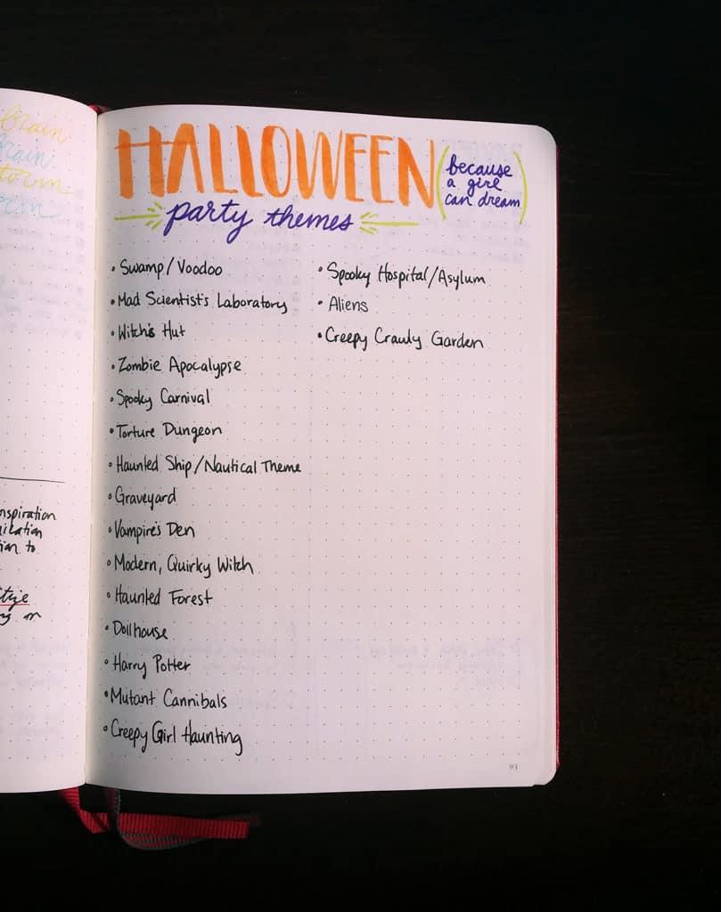 Bullet Journal Party Planner - Let\'s Do Halloween! | LittleCoffeeFox