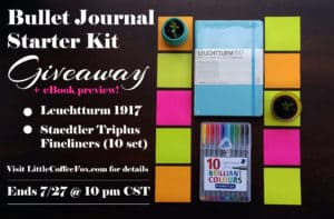 Another fantastic giveaway has opened up and you could be the lucky winner! Click through to see how you can enter up to 5 times for this gorgeous Bullet Journal Starter Kit! And as a bonus, get my free preview of my upcoming eBook! Don't miss out!