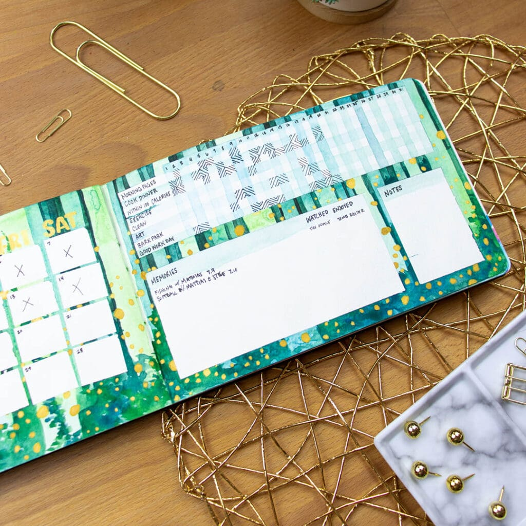 habit tracker layout with green painted pages