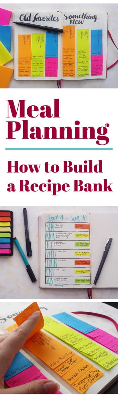 Do you find yourself cooking the same five meals over and over again? Break out of that rut by creating a recipe bank for fun and efficient meal planning!