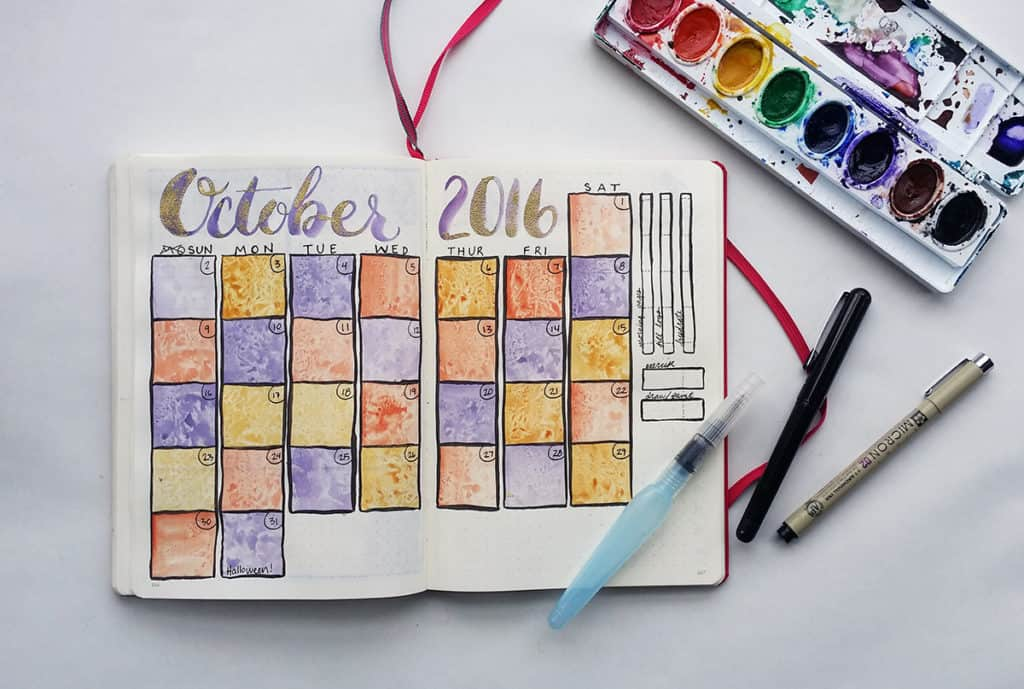 A flat lay view of my October 2016 Bullet Journal Spread
