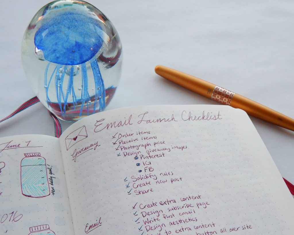 A bullet journal spread for planning an email launch.