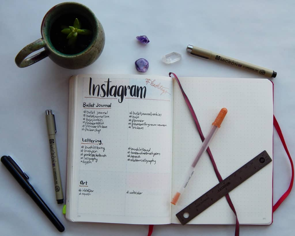 A bullet journal spread for managing Instagram hashtags relating to your small business.