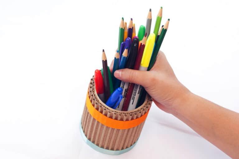 Upcycled DIY Desk Organizer – Tame Your Desk Using Craft Scraps
