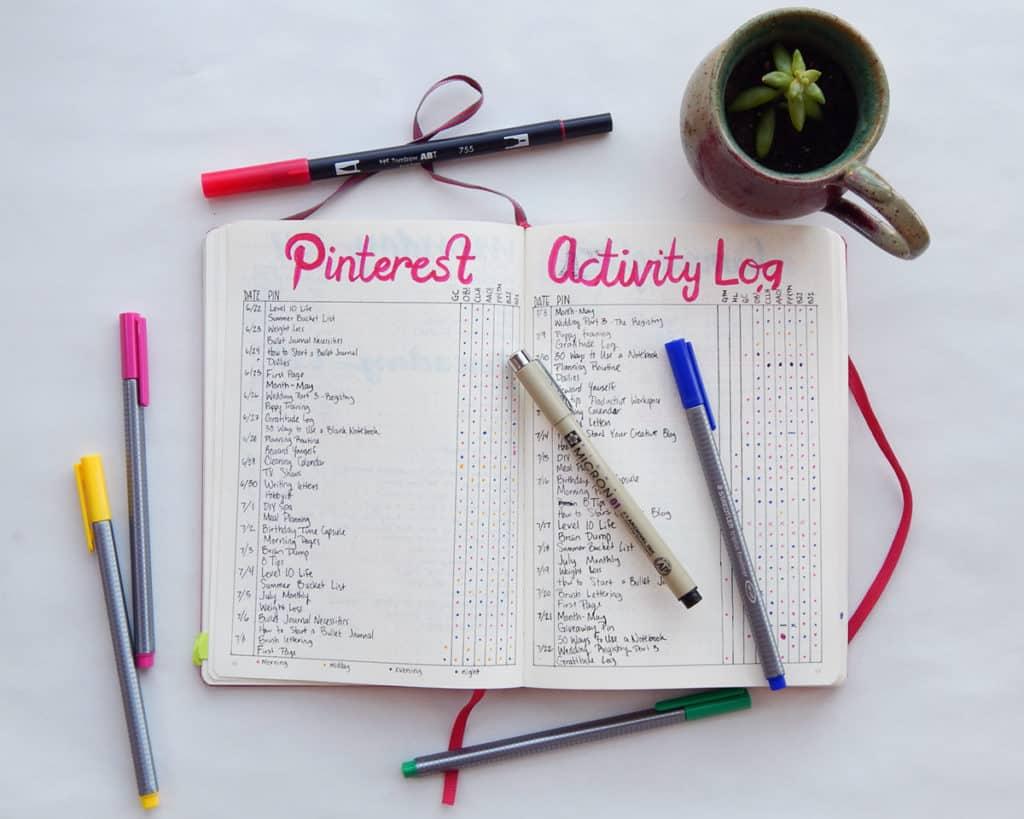 A Pinterest log for a small business bullet journal