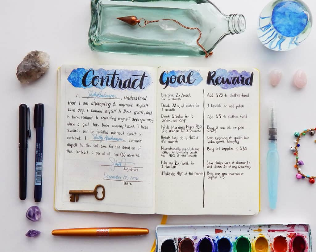 A Contract, Goal, Reward spread in a bullet journal.