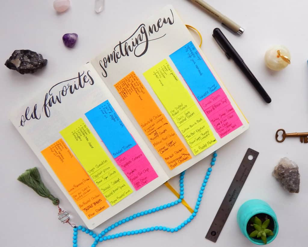 A recipe bank spread in a bullet journal, with recipes written on post-it notes.