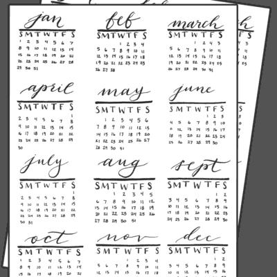 2017 Calendar Thumbnails