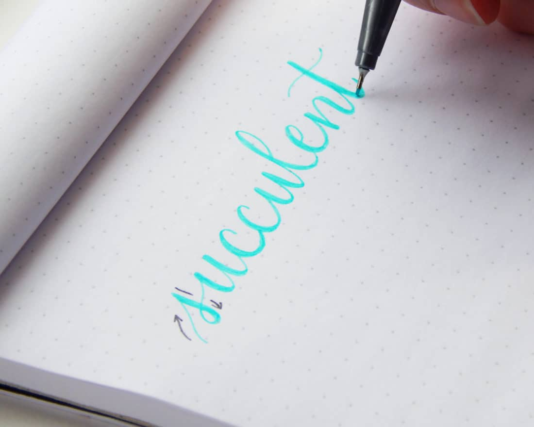 A dot grid notepad is open, and the word 'succulent' is written in cursive. The downstrokes have been made thicker, to make the word look more like calligraphy.
