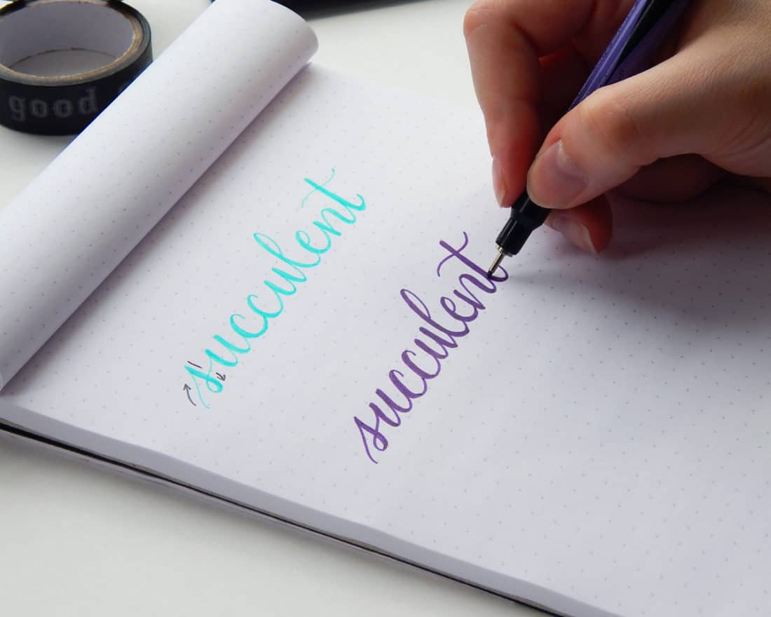 A dot grid notepad is open, and the word succulent is written in cursive twice. The top word is written in blue ink, in a faux calligraphy style. The second work is written with purple ink, also in a finished faux calligraphy style.