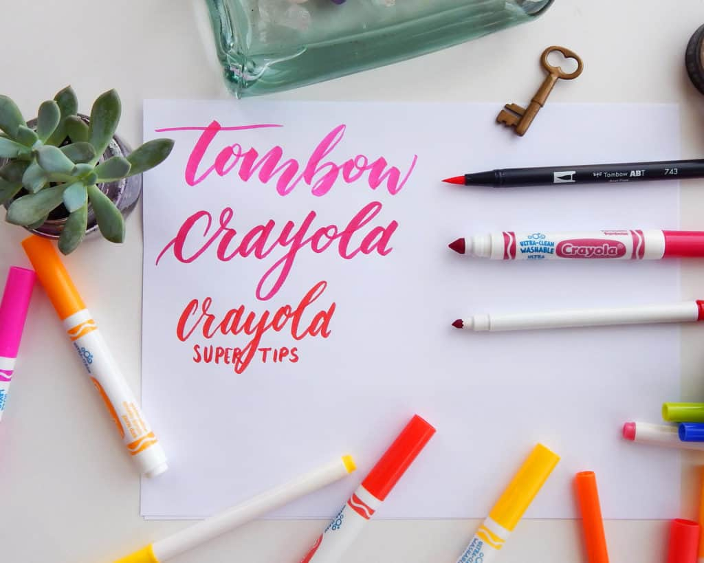 An example of Crayola Calligraphy done in a variety with a variety of Crayola Markers