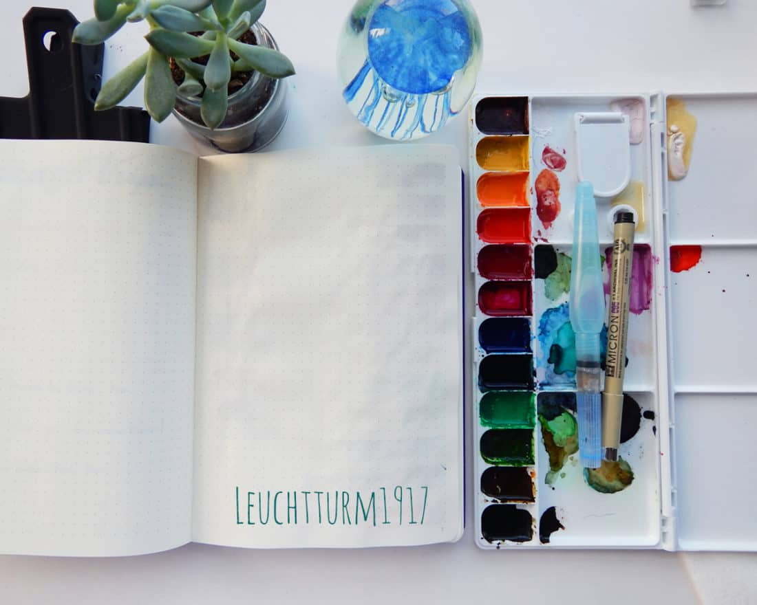 The back of a page in a Leuchtturm1917 journal. Watercolor paints have been used on the other side of the page. This image is to show that there is no bleeding from the paints on the back of the page.