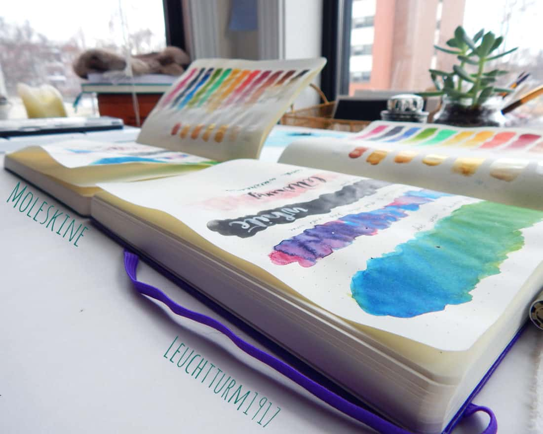 A comparison of warping pages in a Moleskine journal and a Leuchtturm1917 journal after using watercolor paints.