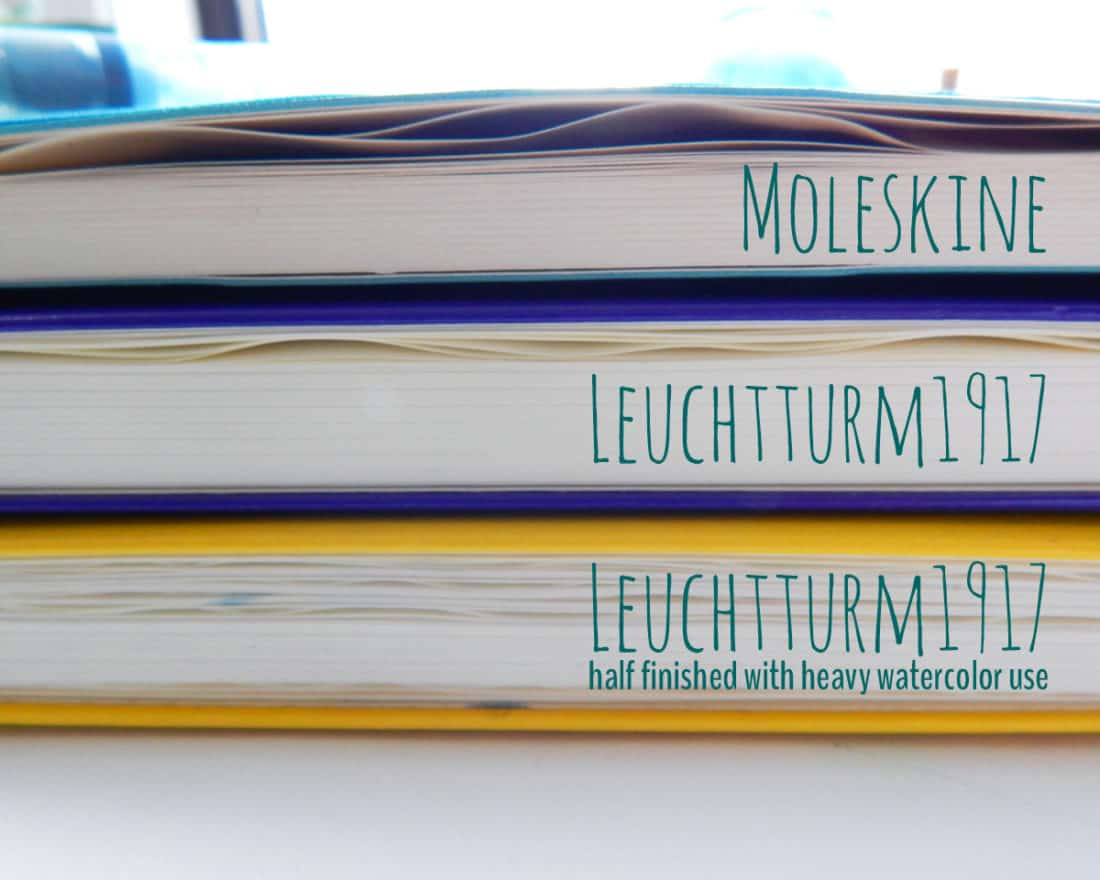 A comparison of page warping in closed journals. The top journal is a Moleskine, the middle journal is a new Leuchtturm1917, and the bottom journal is a half-finished Leuchtturm1917.
