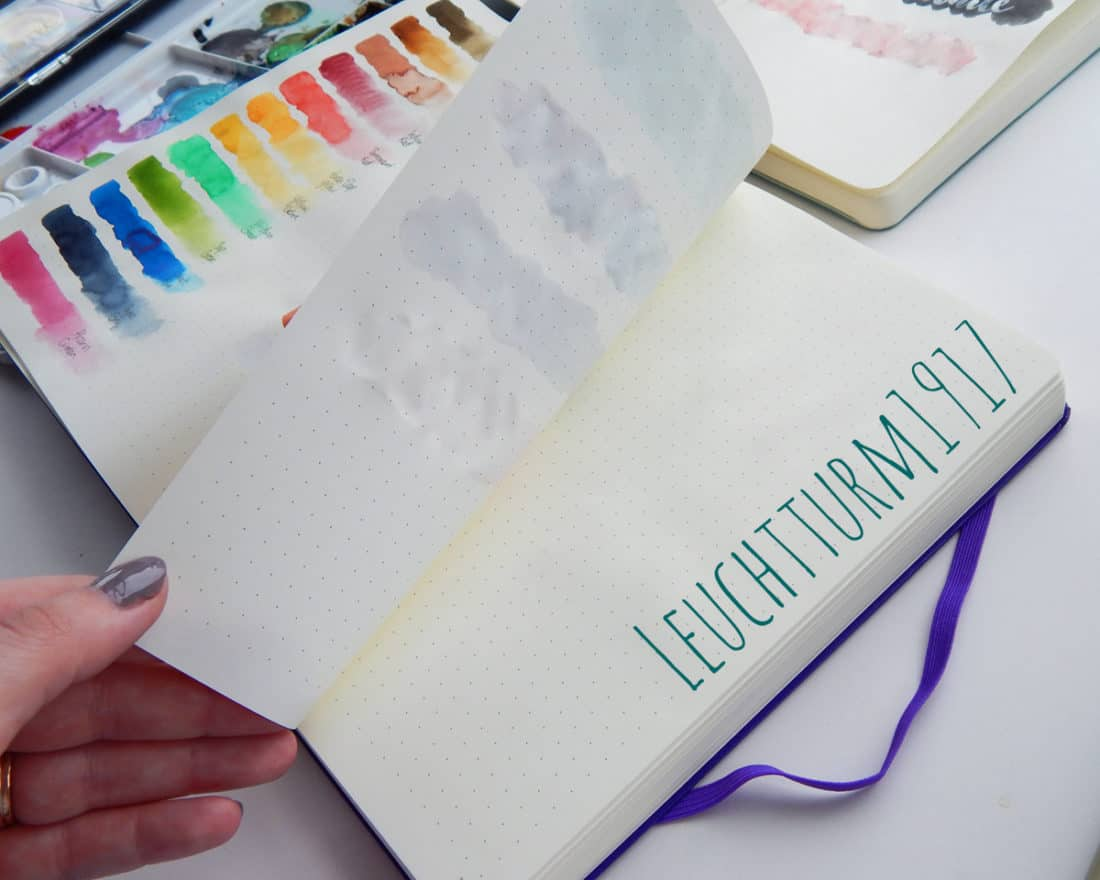 The turning of a page used for watercolor painting in a Leuchtturm1917 journal.