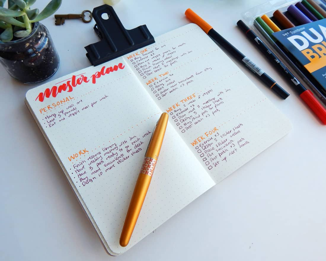 A Master Plan spread in a bullet journal. There are personal and work long-term goals, with four weeks of short-term goals.