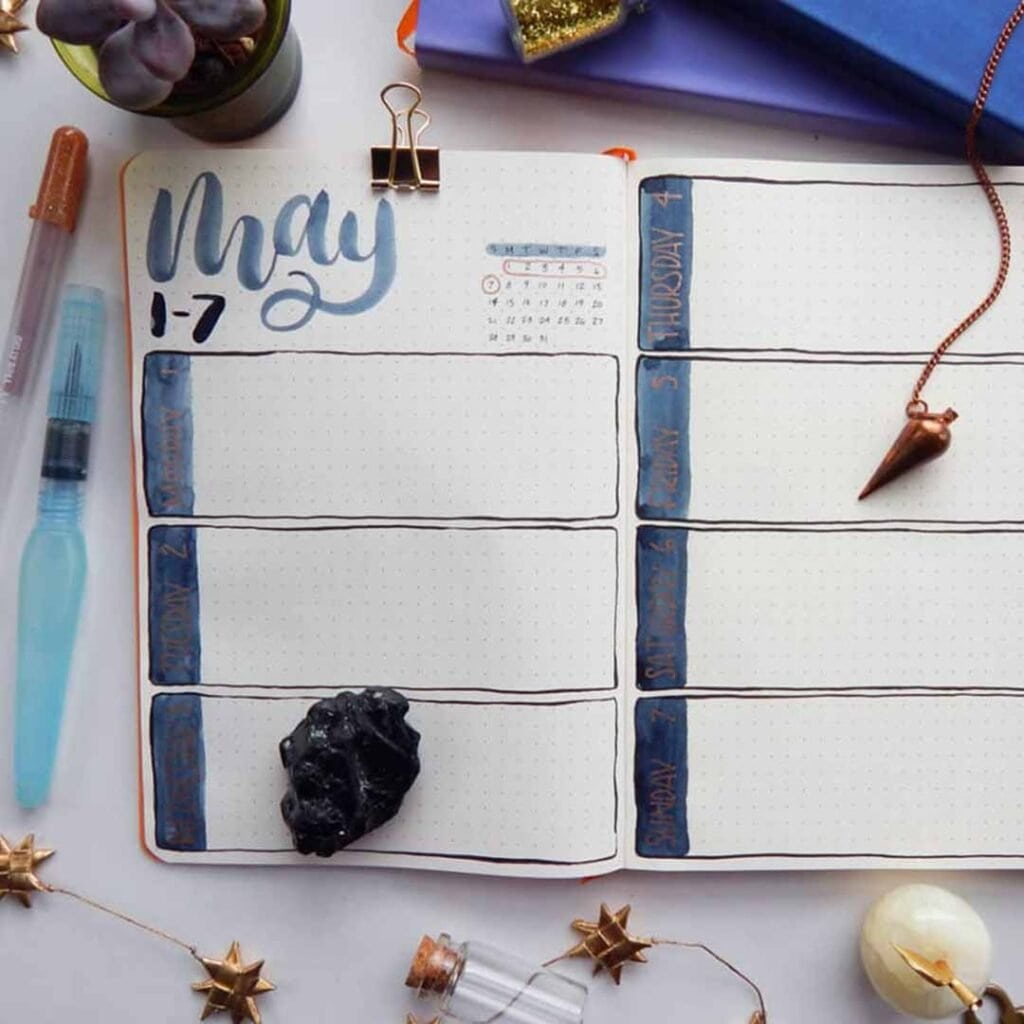 bullet journal weekly spread for May using Basic Betty spread