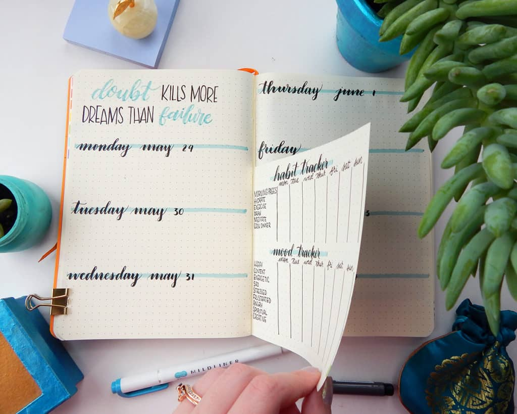 A dutch door bullet journal with the pages being flipped