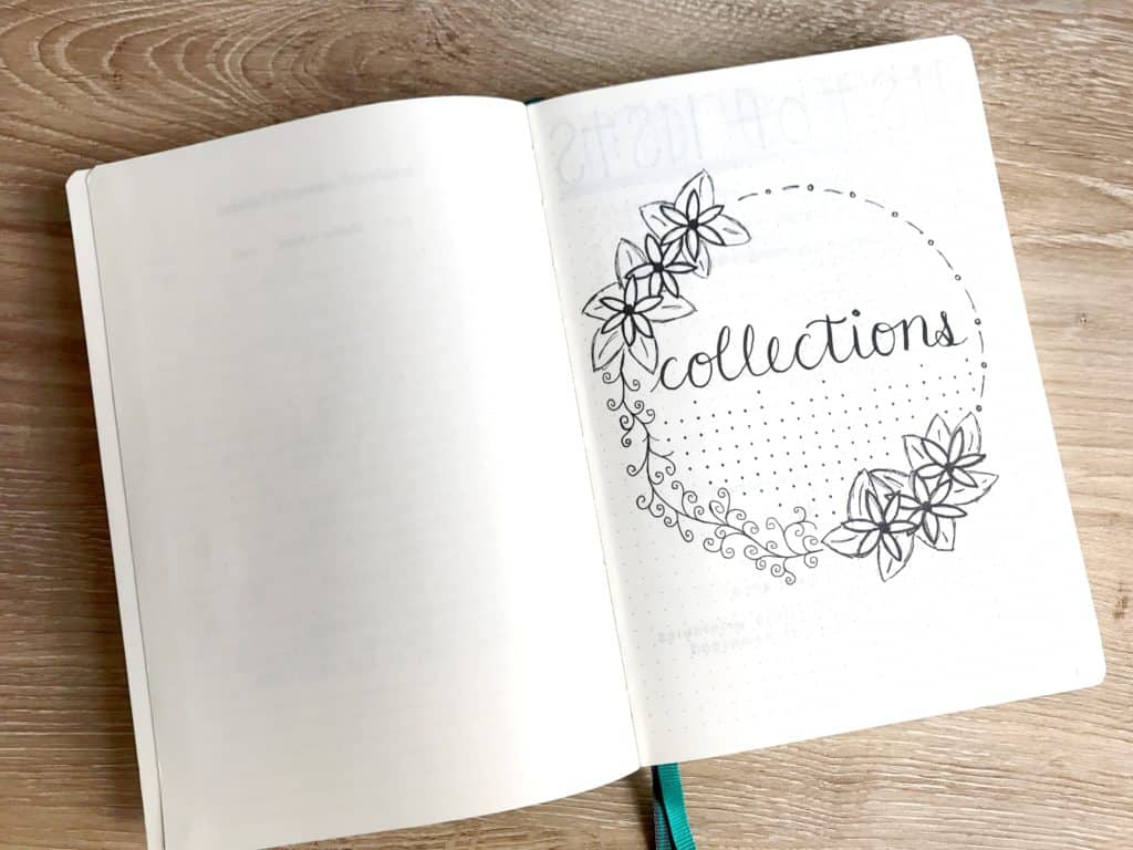 """A bullet journal is open to a title page that says """"Collections"""". This journal is a collections bullet journal."""