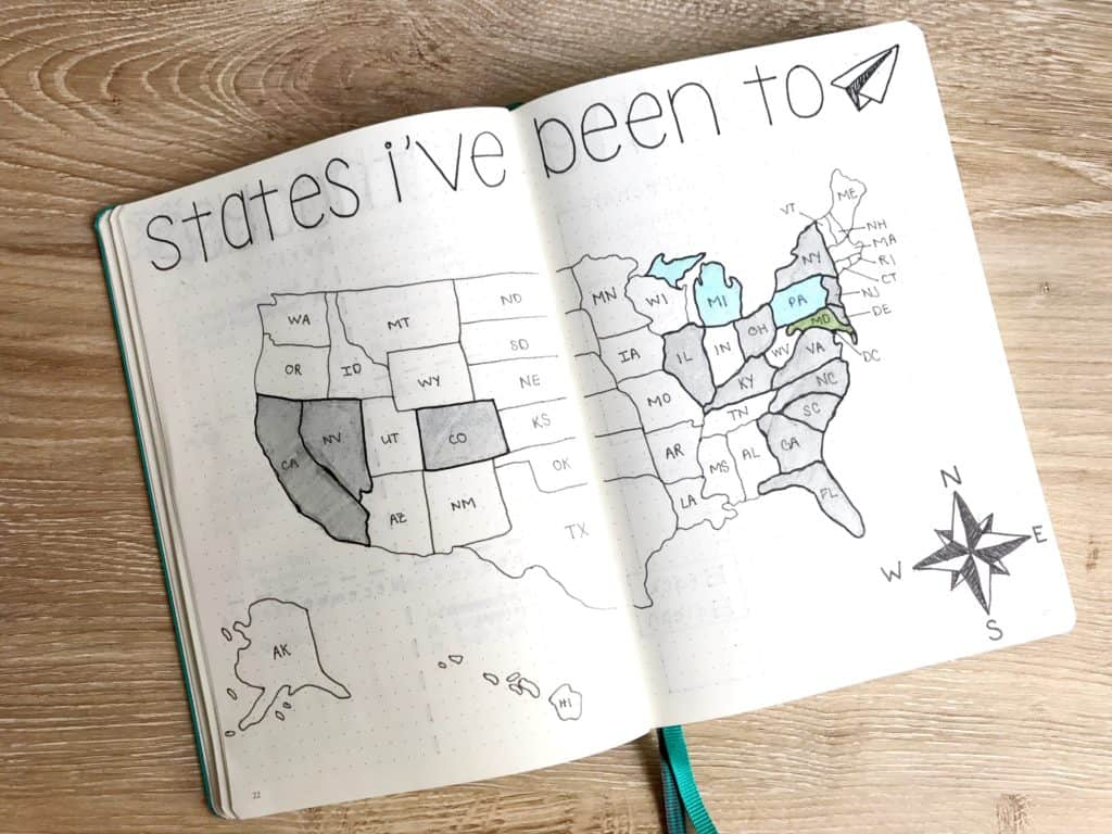 A tracker for the states this journalist has been to in a collections bullet journal. They have colored in the states that they have visited.