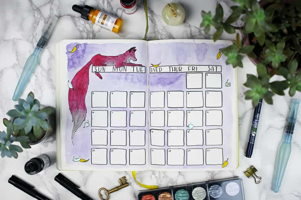 Fox design Bullet Journal monthly spread