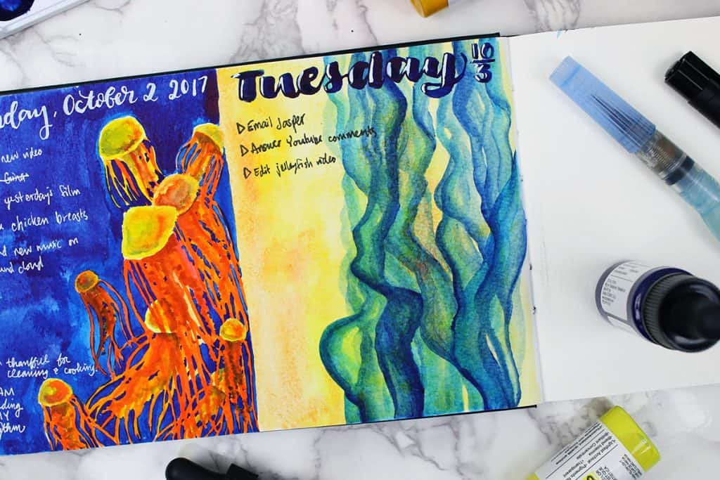 A daily spread in a watercolor bullet journal. The theme of this day is blue smoke on a yellow background.