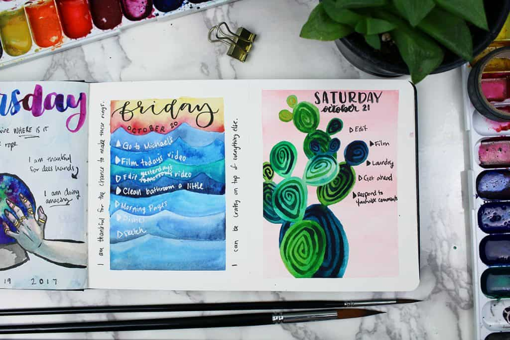 A watercolor bullet journal daily spread. This spread's theme is a prickly pear cactus painted against a pink background.