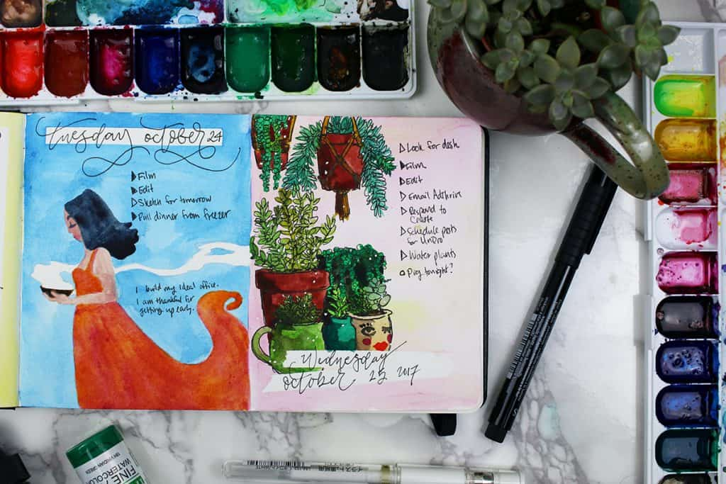 A watercolor bullet journal daily spread. This spread features several succulent plants and planters.