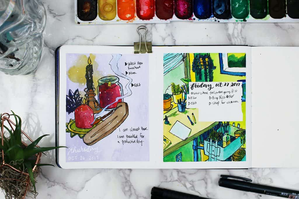 A daily watercolor bullet journal spread. This painting captures a scene of an office desk surrounded by stationary supplies and houseplants.