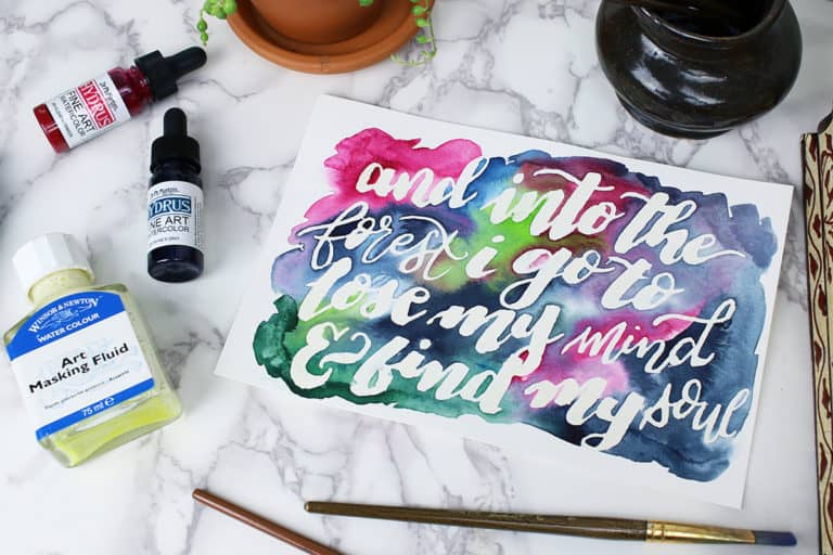 How to Use Watercolor Masking Fluid for Brush Lettering