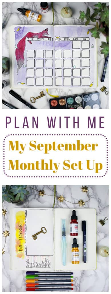 I'm excited to jump into autumn with my September Monthly Layout! This month is full of watercolor splashes, foxes, and lots of freehand drawing. It's probably one of my favorite monthly layouts yet!