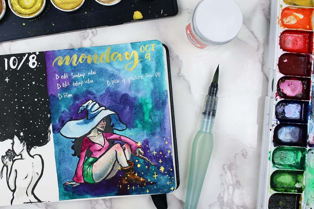 A daily spread for a watercolor bullet journal. This spread features a witch in a large gray hat, pink shirt, and green shorts casting a spell with her wand.