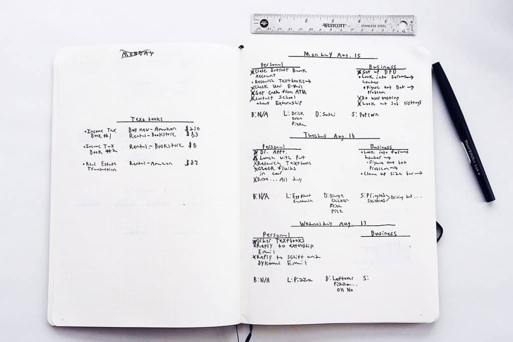 A minimalist bullet journal spread using only a black ink pen
