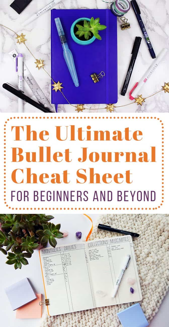 If you're brand new to this whole bullet journal thing or you've been at it for a while, then this bullet journal cheat sheet is perfect for you. This post is stuffed with helpful tips, tutorials, and advice for every experience level. The bullet journal is an incredibly flexible tool - see what it can do for you!  #bulletjournal #bulletjournaling #2019bulletjournal #howtostartabulletjournal #bulletjournalguide