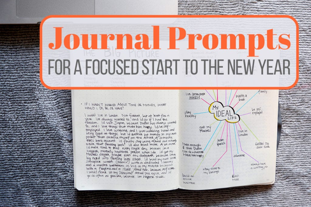 A title image for the article 'Journal Prompts for a Focused Start to the New Year'. The bullet journal is open to an Ideal Life Spread.