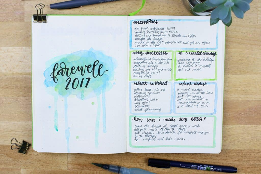 2018 bullet journal setup - favorites of 2017