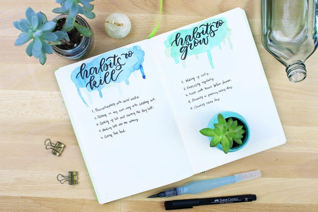 Habits to kill grow and habits to kill bullet journal spreads